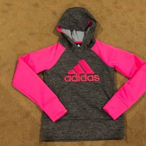 Adidas girls pink and gray sweat shirt with hood.